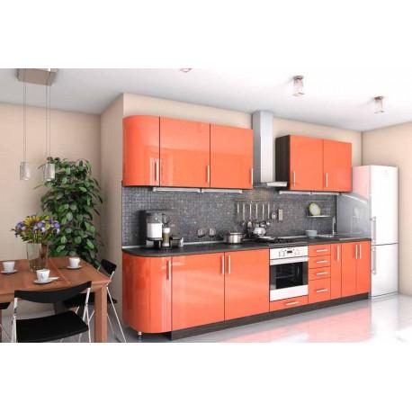 """Кухня """"Гламур"""" персиковая прямая, 3300 мм"""