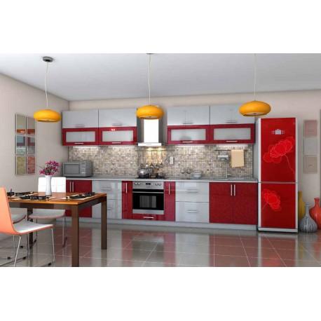 """Кухня """"Гламур"""" красная с белым прямая, 3800 мм"""