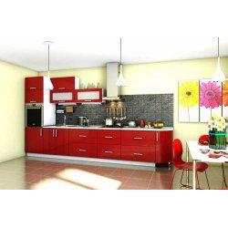 """Кухня """"Гламур"""" красная прямая, 3900 мм"""