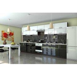 "Кухня ""Гламур"" черно-белая прямая, 4100 мм"