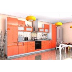 """Кухня """"Гламур"""" оранжевая прямая, 4200 мм"""