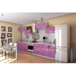 """Кухня """"Гламур"""" фиолетовая прямая, 4200 мм"""