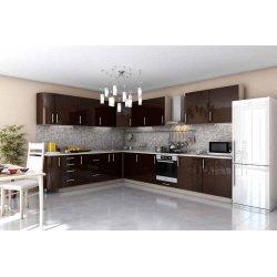 "Кухня ""Гламур"" коричневая угловая, 2700x3600 мм"