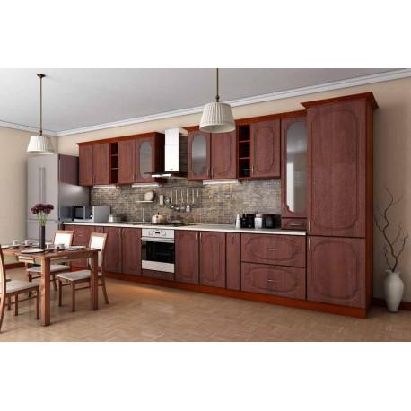 Кухня Сансет Гарант прямая 4800 яблоня темная тисненная