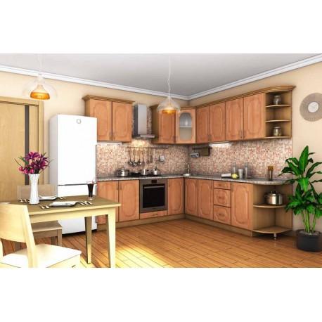 Кухня Сансет угловая ольха темная тисненная фото