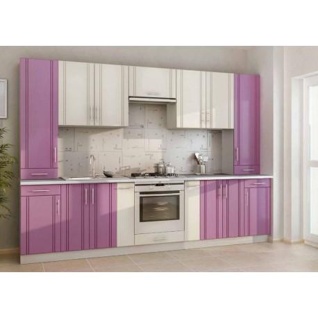 Кухня МДФ Киевский стандарт фиолетовая / слоновая кость