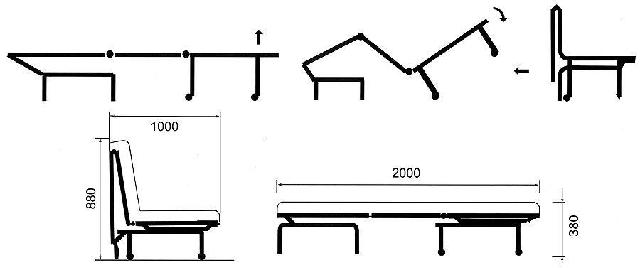 Схема раскладывания кресла аккордеон