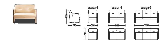 Схема и размеры дивана Ультра
